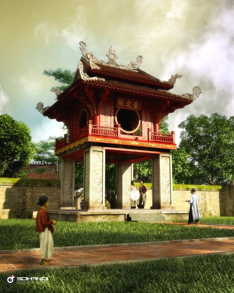 Nét cổ kính của Hà Nội bằng công nghệ 3D Khuê Văn Các.