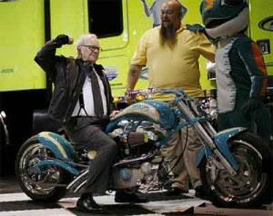 Warren Buffett celeb on motorcycles