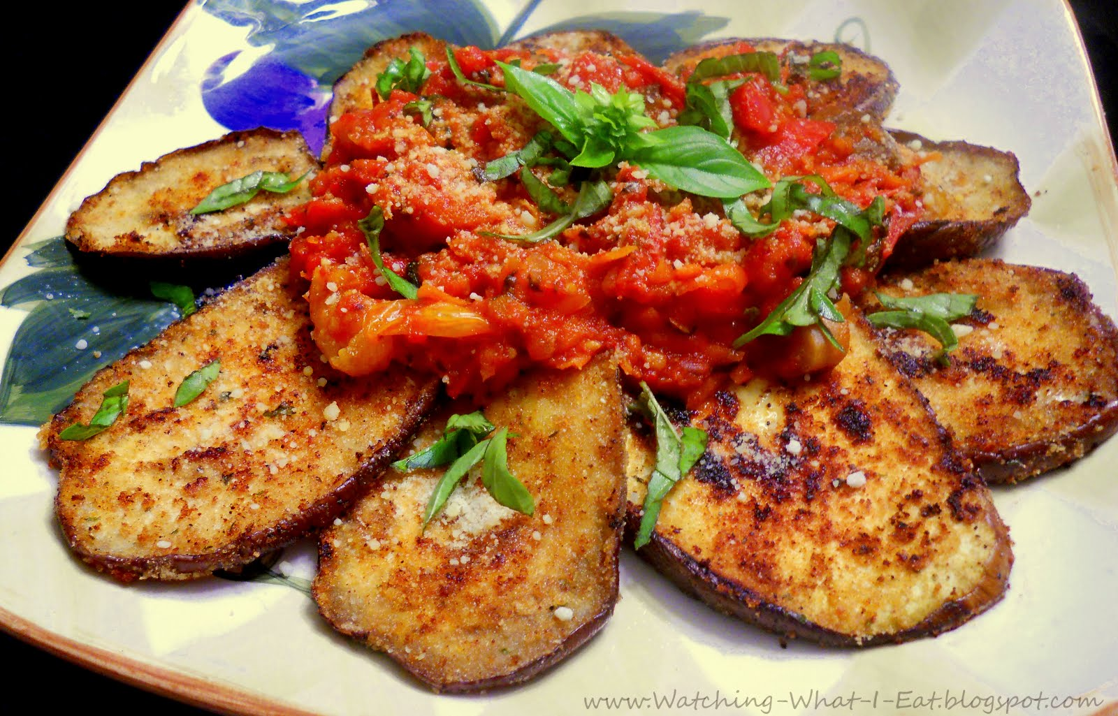 Watching What I Eat: Low Fat Eggplant Parmesan ~ Meatless Monday