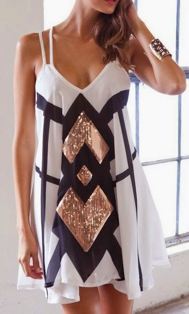 Gorgeous Black And White Dress for Stylish Ladies