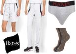 Jabong: Buy Hanes Pack of 3 Socks @ 167, Shorts @ 304,  Trackpants @ 408,  Pack Of 3 Tees @ 551