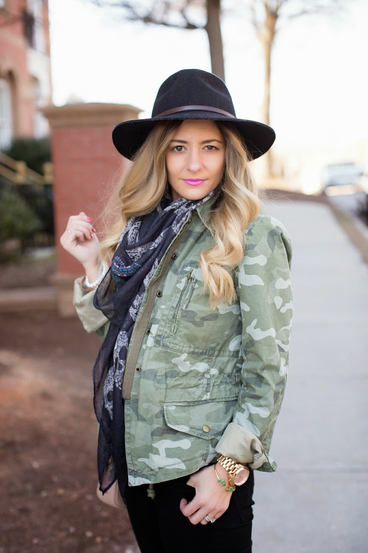 Sole Society Outback Wide Brim Hat, GAP Camo Print Jacket
