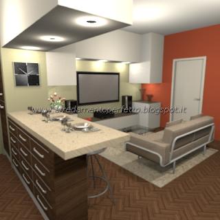 Finto pilastro in cartongesso definisce gli spazi cucina-soggiorno