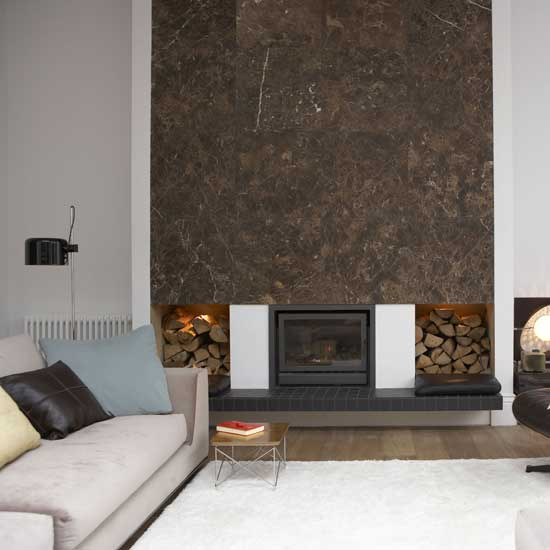 Modern wall fireplace design architectural home designs for Contemporary feature wall ideas