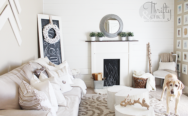 DIY faux fireplace surround and mantel. Made for under $50, would be perfect with stockings for the holidays!