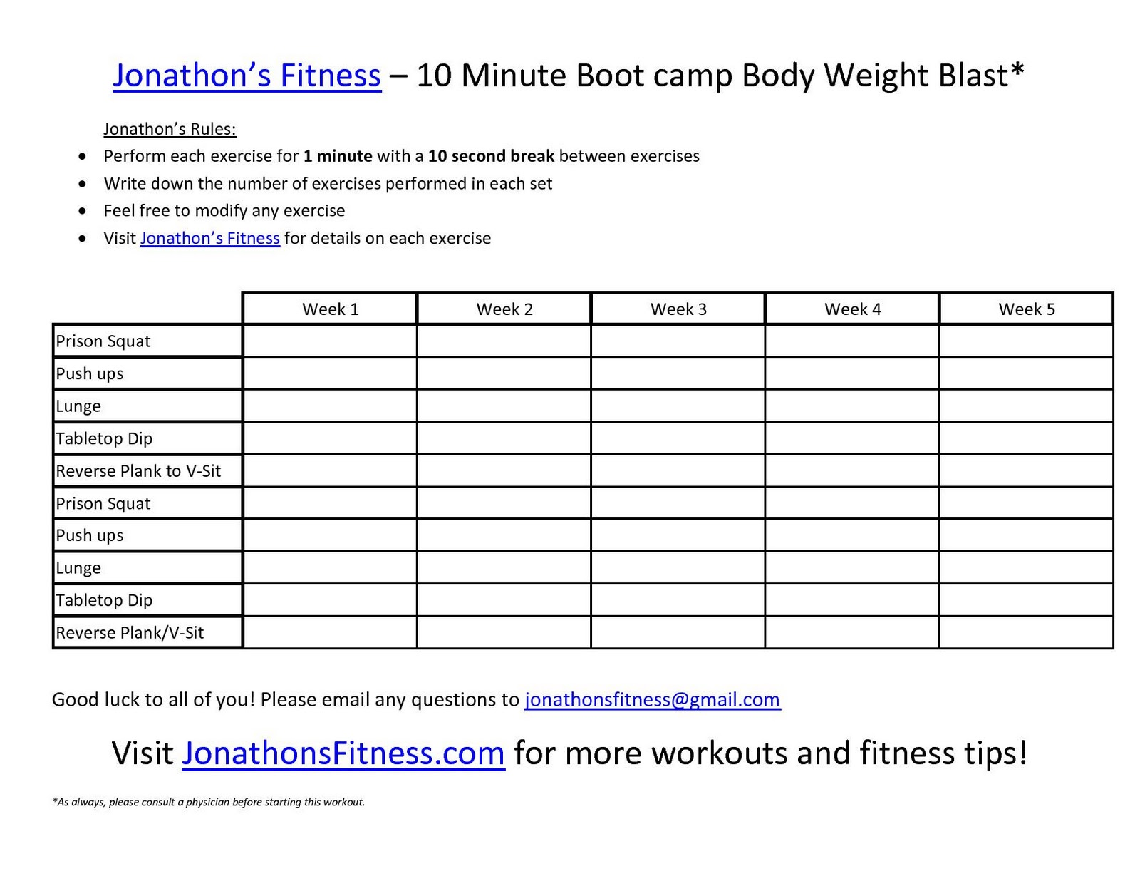 Jonathons Fitness Site Printable Workout Routine