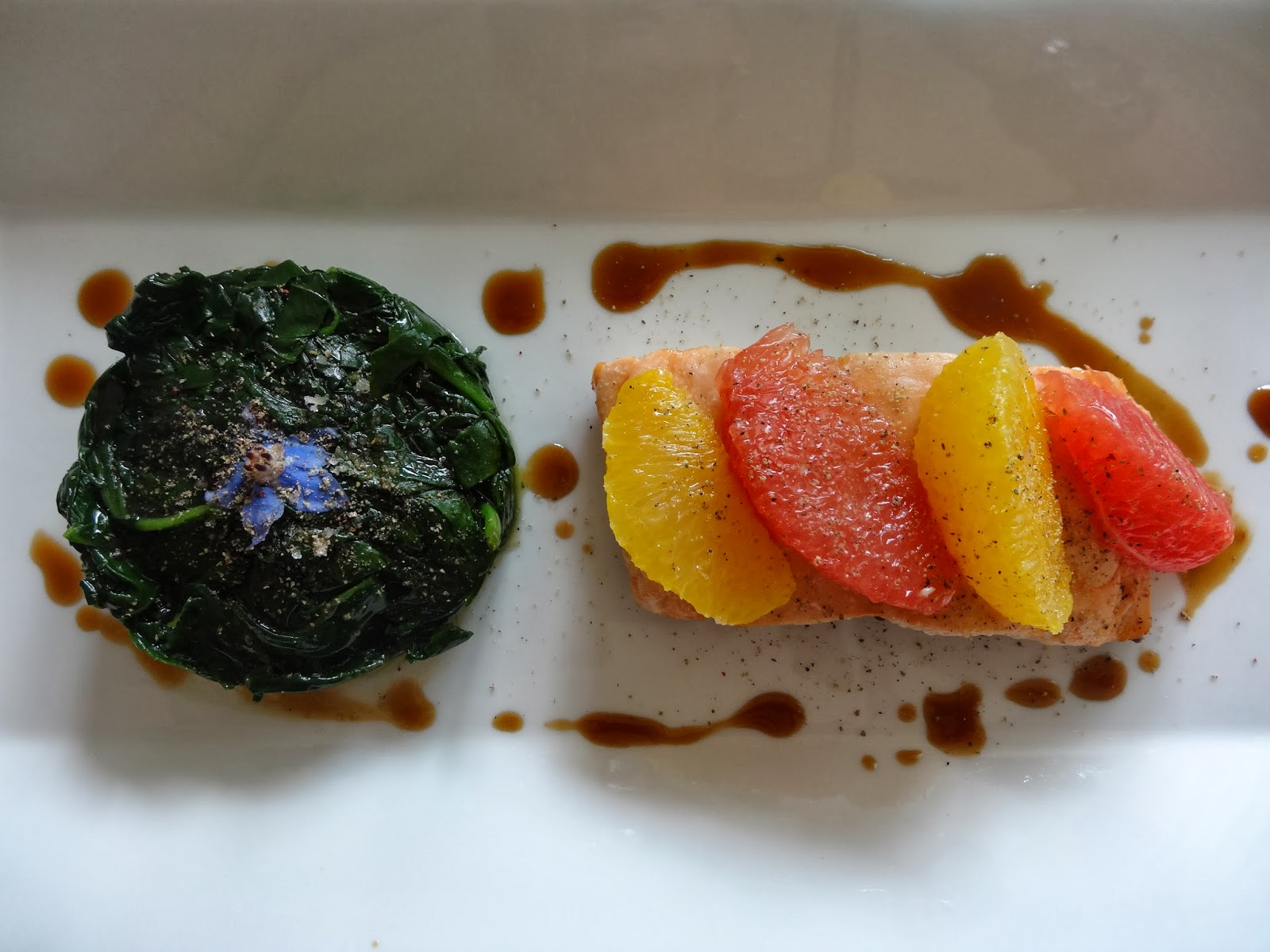 """salmon"""" agro dolce """"with spinach"""