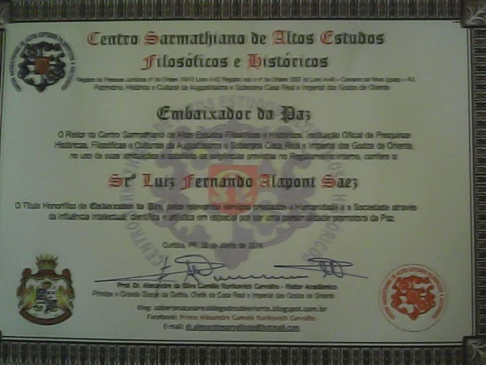 Titulo Nobiliárquico - título de Embaixador da Paz