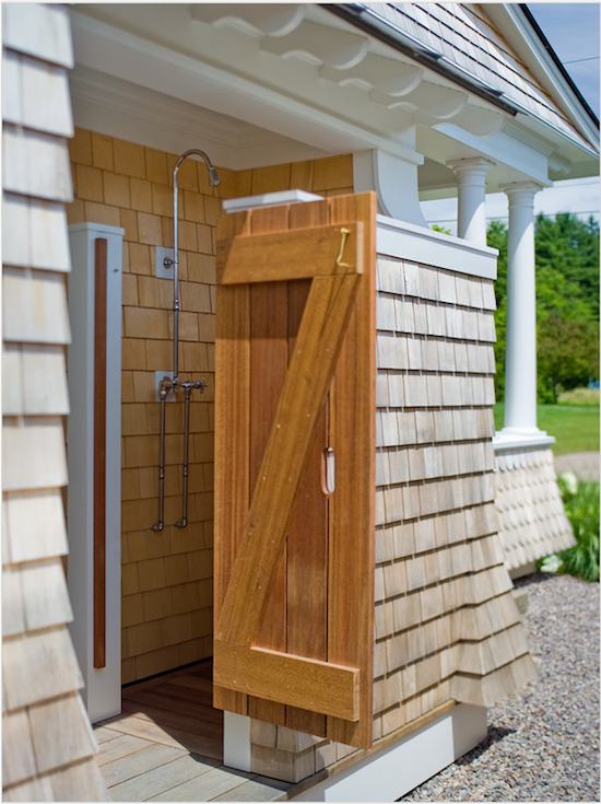 stained wooden shower enclosure, outside shower, outdoor beach shower,