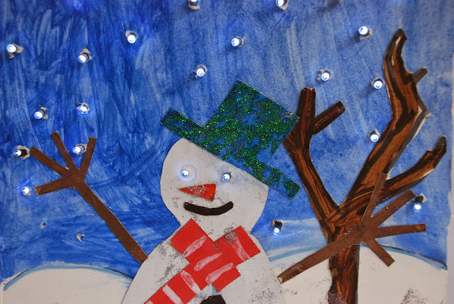 image of home made snowman card