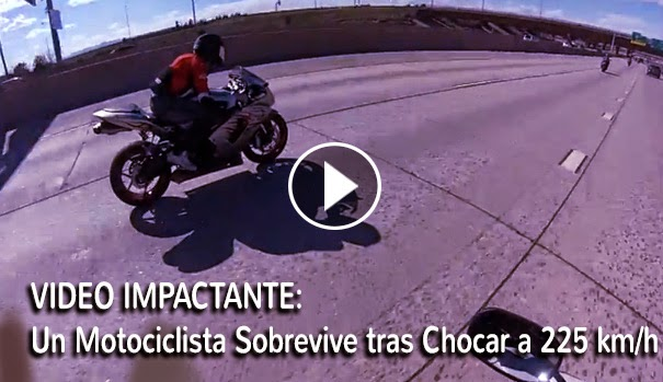 VIDEO IMPACTANTE - Un Motociclista Sobrevive tras Chocar a 225 km/h