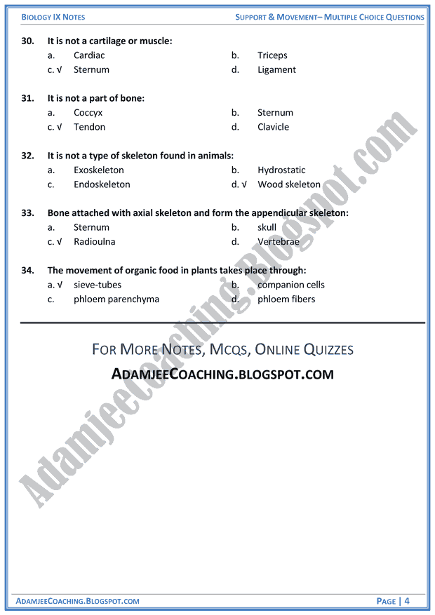 support-and-movement-multiple-choice-questions-biology-notes-for-class-9th