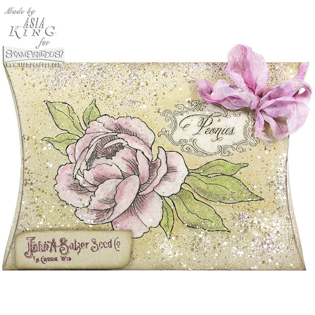 Stampendous Peony Spray - painting with Inktense pencils