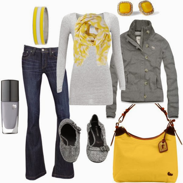 Grey jacket scarf grey cardigan yellow purse with denim pants