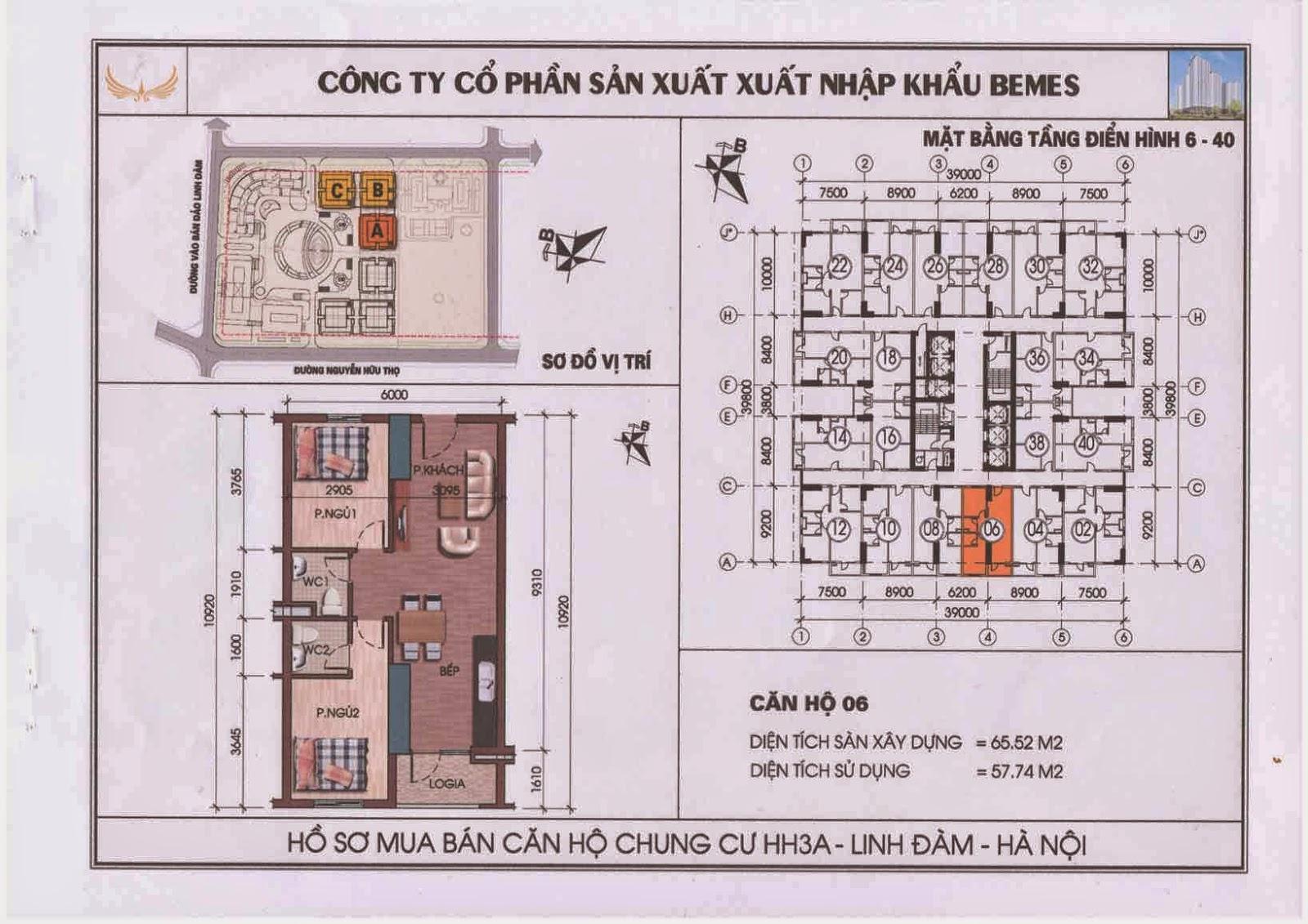 Căn hộ 06 - Chung Cư HH3A Linh Đàm
