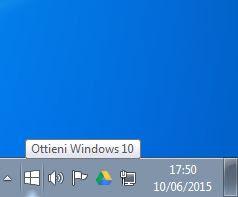 rimuovere icona windows 10
