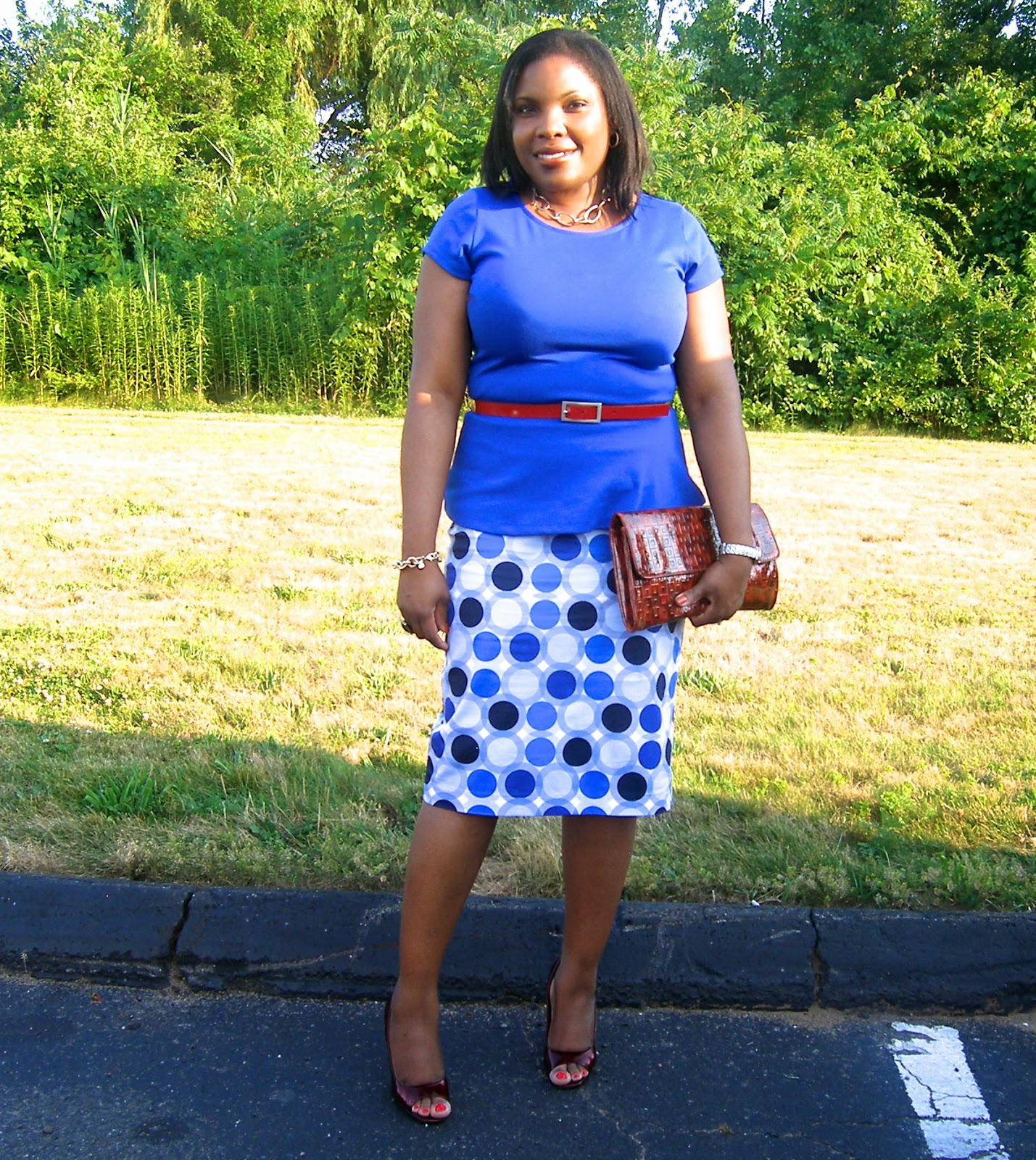 Limited peplum top, cobalt blue, fashion blogger, blue circles skirt