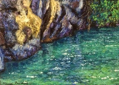 Soft Pastel painting of blue green waters next to rocks by Manju Panchal