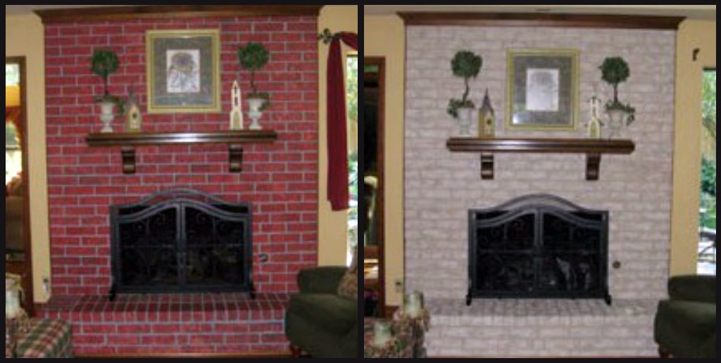 Fireplace decorating complete brick fireplace makeover for Bricks painting design