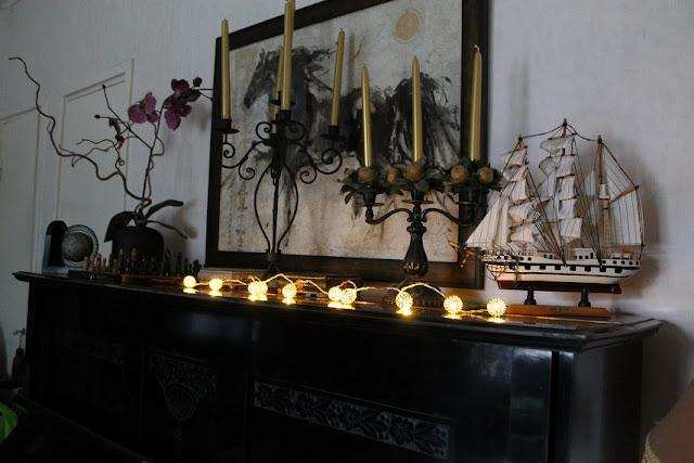 piano, purjevene, kyntteliköt, kynttelikkö, taulu, valosarja