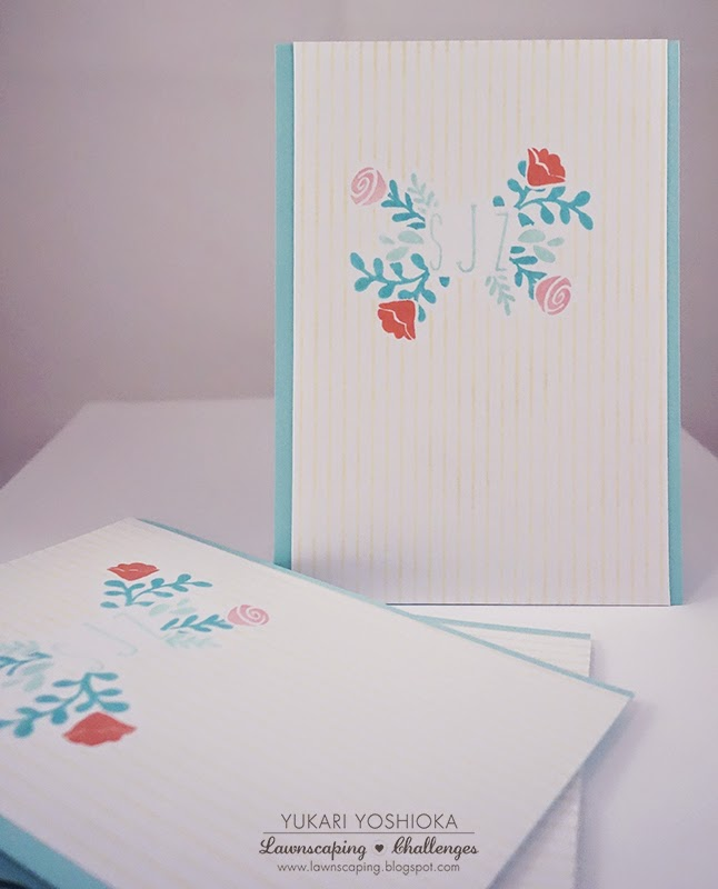 "Custom Monogrammed Notecard Set by Handmade by Yuki | ""Penelope's Blossoms"" by Lawn Fawn"