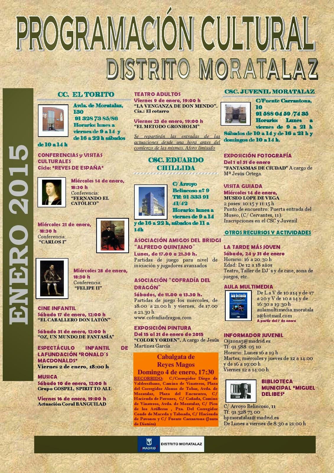 Programación cultural del Distrito de Moratalaz. Enero de 2015