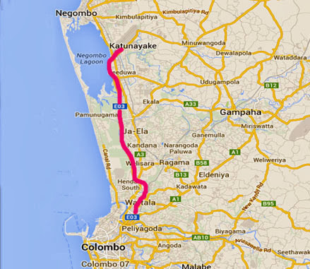 map of Colombo katunayake highway