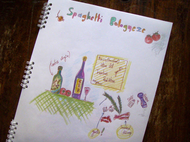 spaghetti bologneze funny drawing recipe coloured pencils