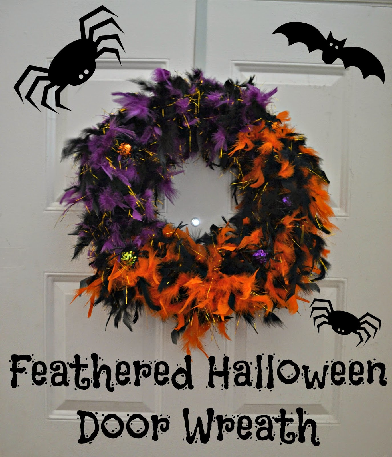 Feathered halloween door wreath diy building our story for 3 wreath door decoration