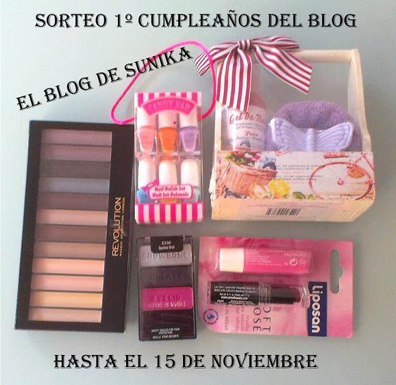 Sorteo 1º cumpleaños del blog. el blog de sunika