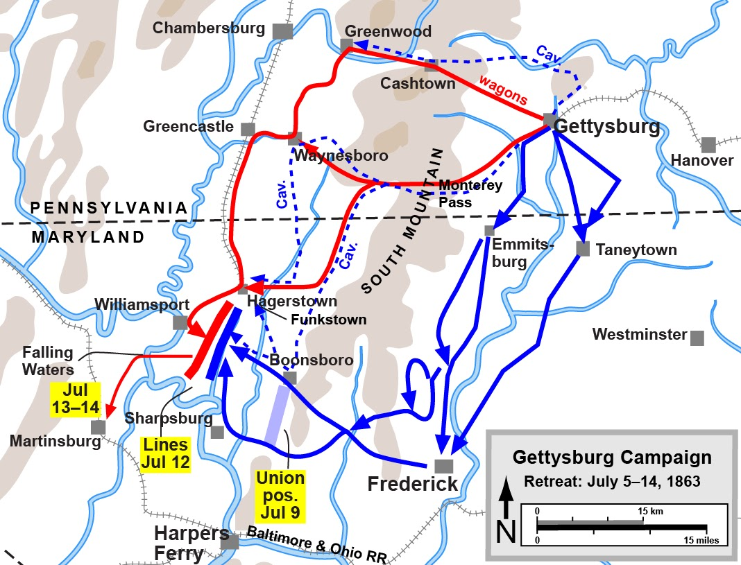 the confederate flight south into maryland from gettysburg