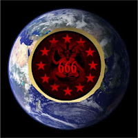 a graphic (c) Erika Grey of a photo of the world and in the center is a depiction of the Antichrist as baphomet and 666 across the center which is the number for the Antichrist encased in a circle of stars. Around the red and black circle of the Antichrist featured as the winged goat with a dragon's tail is a gold circle signifying world rule and the wealth he will bring the final world empire.