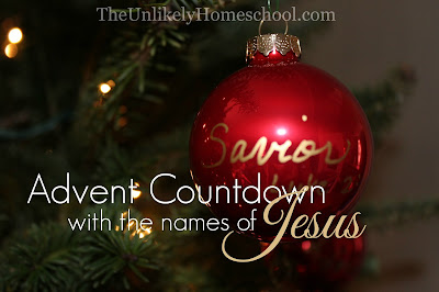 Advent Countdown with the names of Jesus: enter into the Christmas season with hopefully expectancy using this easy-to-make Advent tradition.