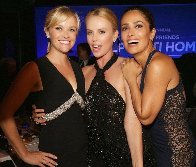 It's starting to finally cool down at Montage Hotel in Beverly Hills, CA, USA on Saturday, January 10, 2015.  So what are several most beautiful woman ever to do? Charlize Theron, Salma Hayek, and Reese Witherspoon might be on fully excellent on the Sean Penn's Help Haiti Home Gala.