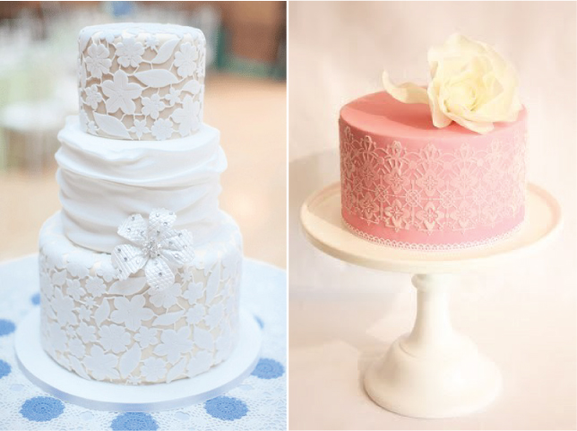 Different pastel colors of lace and even buttons over a white cake look