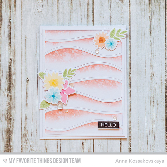 Soft Hello Card by Anna Kossakovskaya featuring the Mini Modern Blooms stamp set and Die-namics and Snow Drift Cover-Up Die-namics #mftstamps