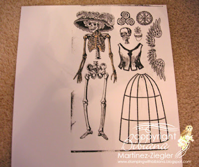 catrina paper doll for day of the dead stamped