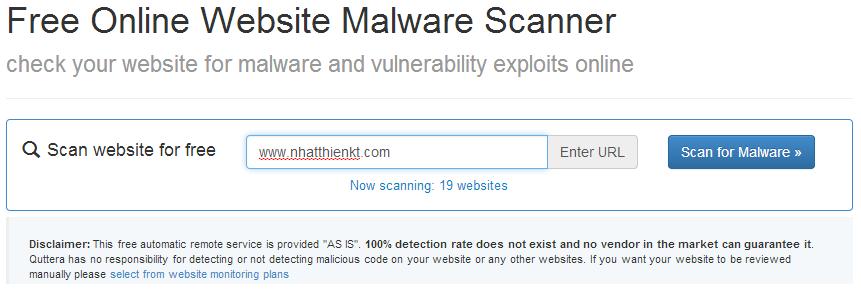 Kiểm tra virut trực tuyến cho website/blog