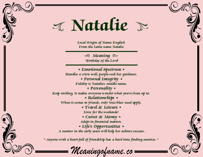 Natalie - Girl's name meaning, origin, and popularity ...