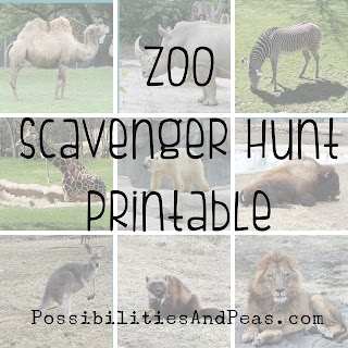 preschool zoo scavenger hunt printable