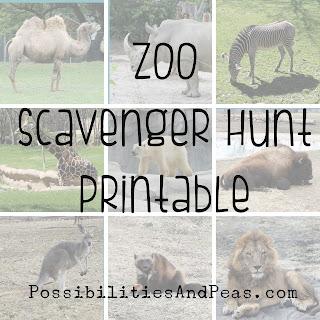 preschool zoo scavenger hunt printable