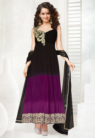 Shaded Black And Magenta Faux Chiffon Abaya Style Churidar Kameez