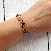Wire Wrapped Bracelet Necklace Autumn on wrist