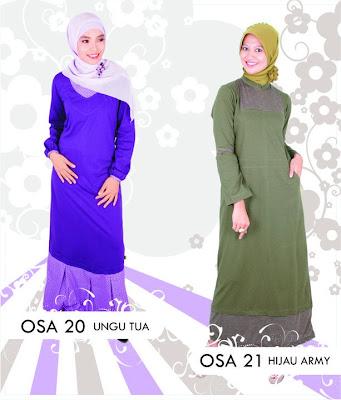 Katalog Fashion Osmoes Pakaian Wanita Muslim Ungu Tua Hijau Army