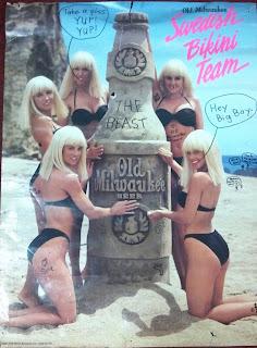 swedish bikini team poster advertising old milwaukee beer