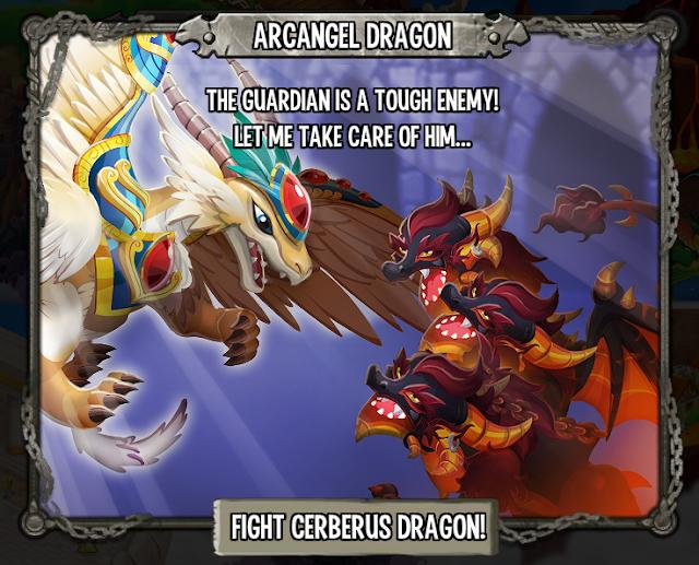 imagen del dragon arcangel apareciendo para ayudar contra el dragon ceberus