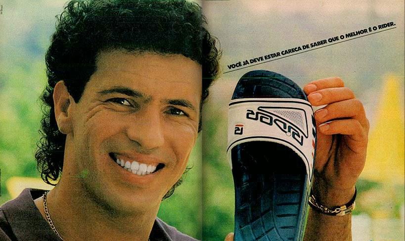 Propaganda do chinelo Rider veiculada em Janeiro de 1990: famoso modelo de tira larga.