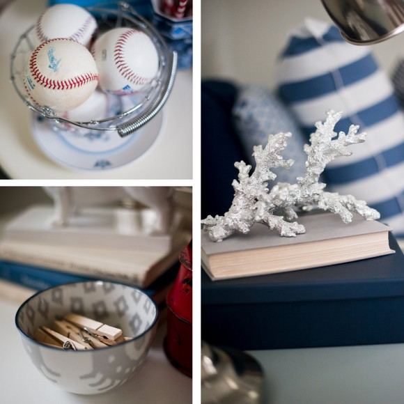 These vintage baseballs and bowl of clothespins add rustic decor elements.