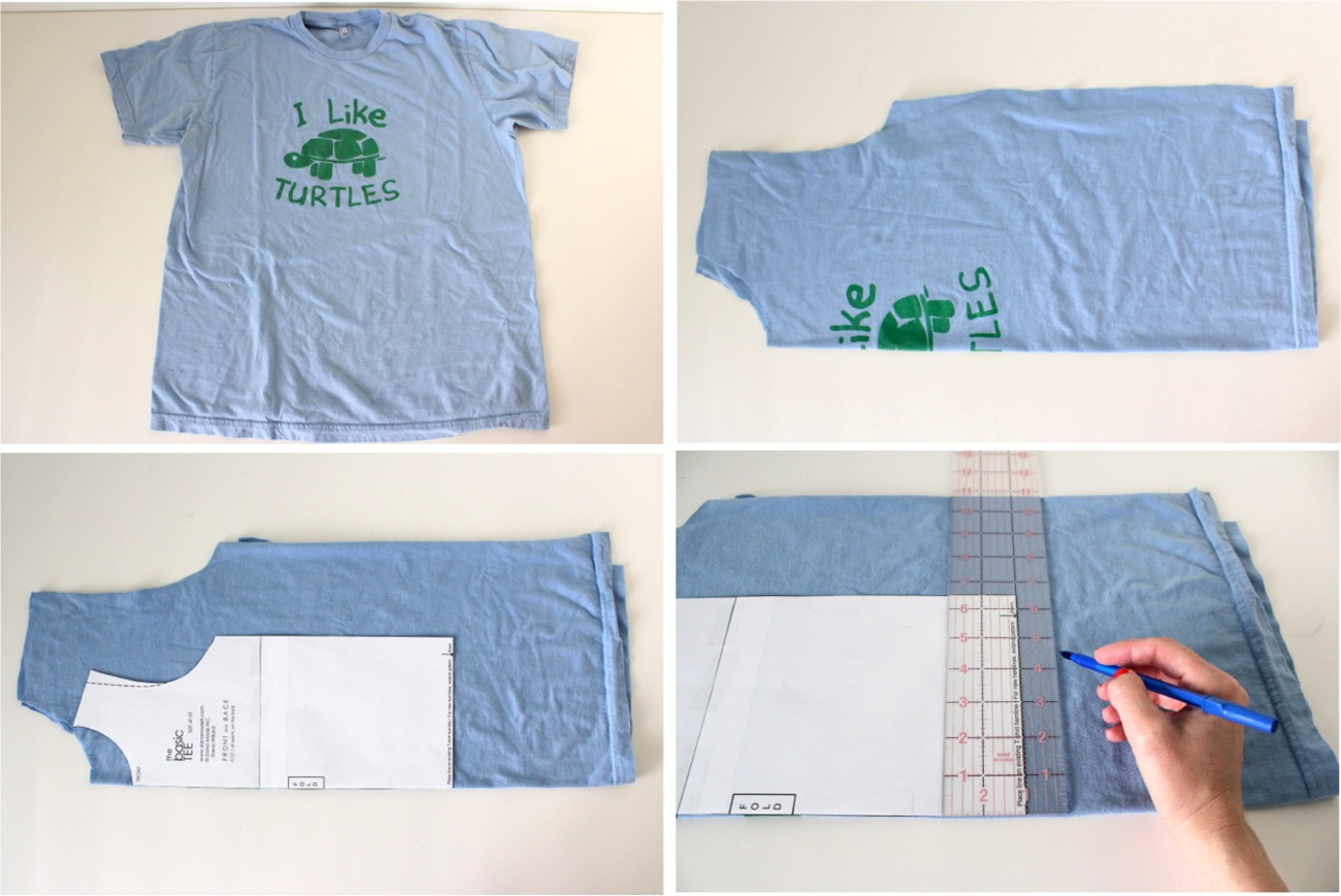 Basic t shirt made everyday when youre finished iron the bottom edge of the shirt under 12 to 1 inch whatever extra length you added to the pattern and sew jeuxipadfo Image collections