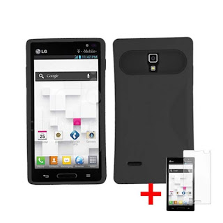BLACK RUBBER GLOW COVER HYBRID SOFT GEL CASE for LG OPTIMUS L9 P769 +SP